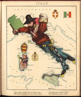 Fig10 The Mezzogiorno Old Boot of Italy featuring Garibaldi 1868