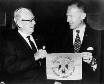 Fig 15 Buzz Aldrin and the Masonic Flag
